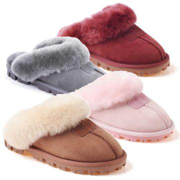 UGG OZWEAR Ladies Coquette Slip On Double Face Sheepskin Fur Scuff Slipper Ob114