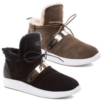 UGG OZWEAR Ladies Ottavia Bar Sneakers Australian Premium Double Face Sheepskin Sneakers Ob342