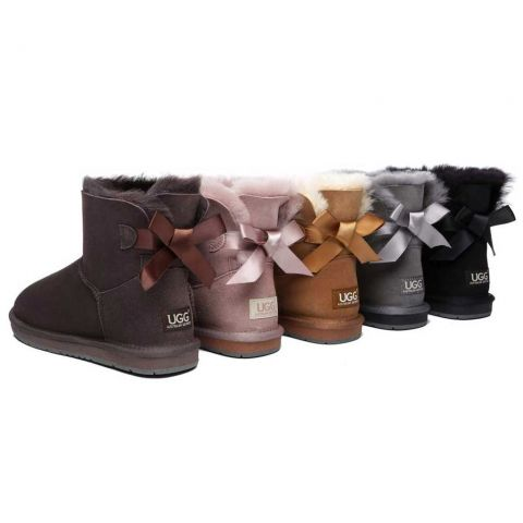 Women Mini Ugg Boots with Single Back Bow AS3011S