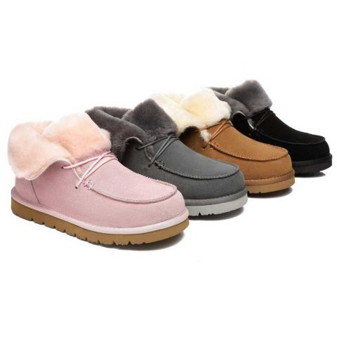 AS Women Mini Ugg Alaina Casual Ankle Ugg Boots with Wool Collar AS3017S