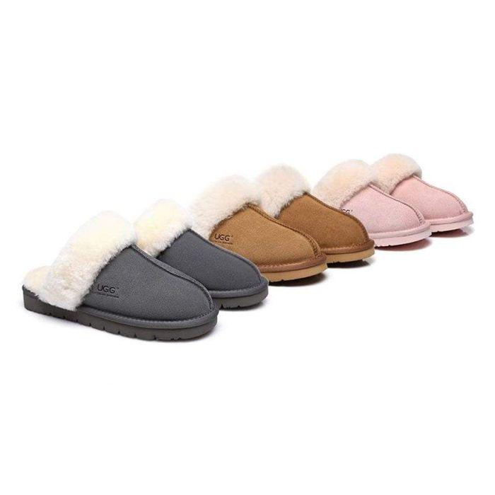 UGG Slippers , Australia Premium Sheepskin,Unisex Men Women Muffin Scuff