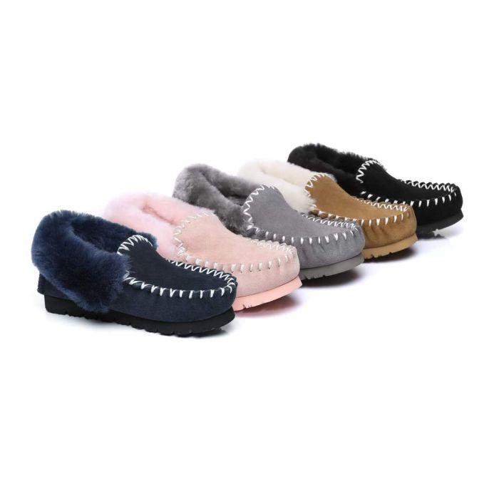 UGG Ankle Slippers,Australia Premium Sheepskin,Unisex Popo Moccasins