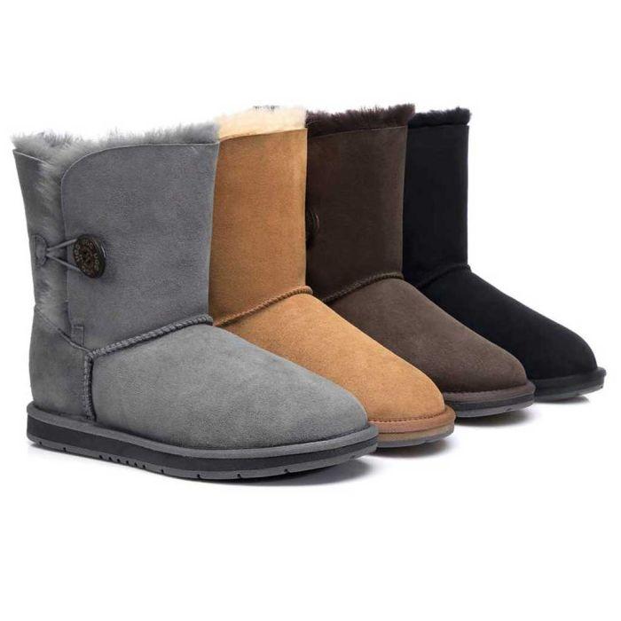 AS UGG Boots Australia Premium Double Face Sheepskin Short Button, Water Resistant #15802