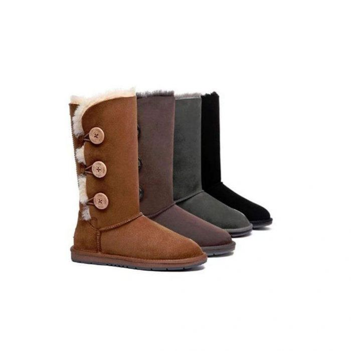 UGG Boots Australia Premium Double Face Sheepskin Tall Triple button Water Resistant 15902