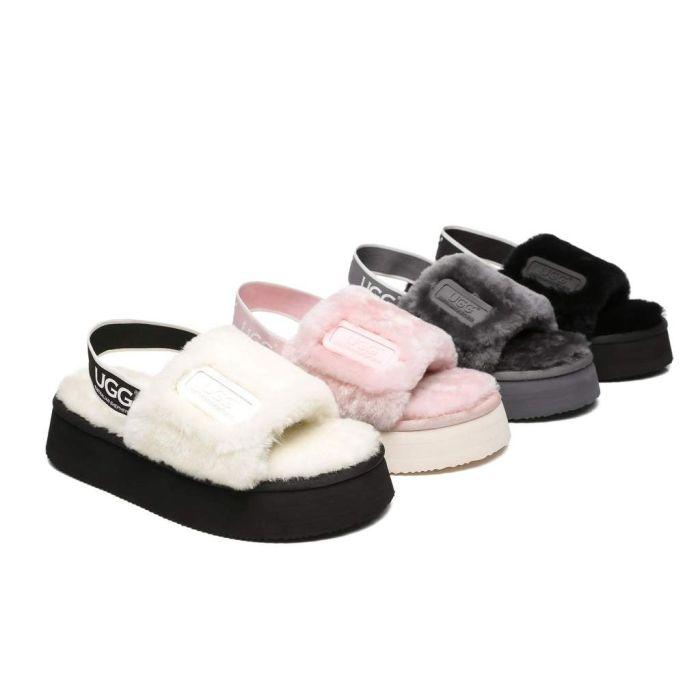 AS UGG Women Platform Fluffy Slide Poppin