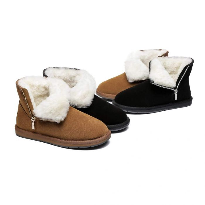 AS Sheepskin Wool Mini Side Zipper Ugg Boots