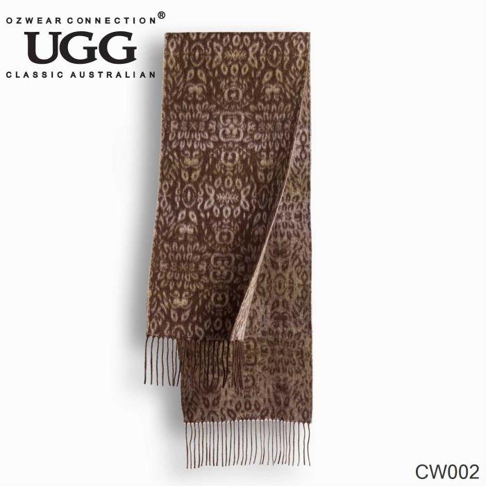 OZWEAR UGG Cashmere + Wool Scarf Wraps - Chocolate/Tan (1740x300mm) CW002