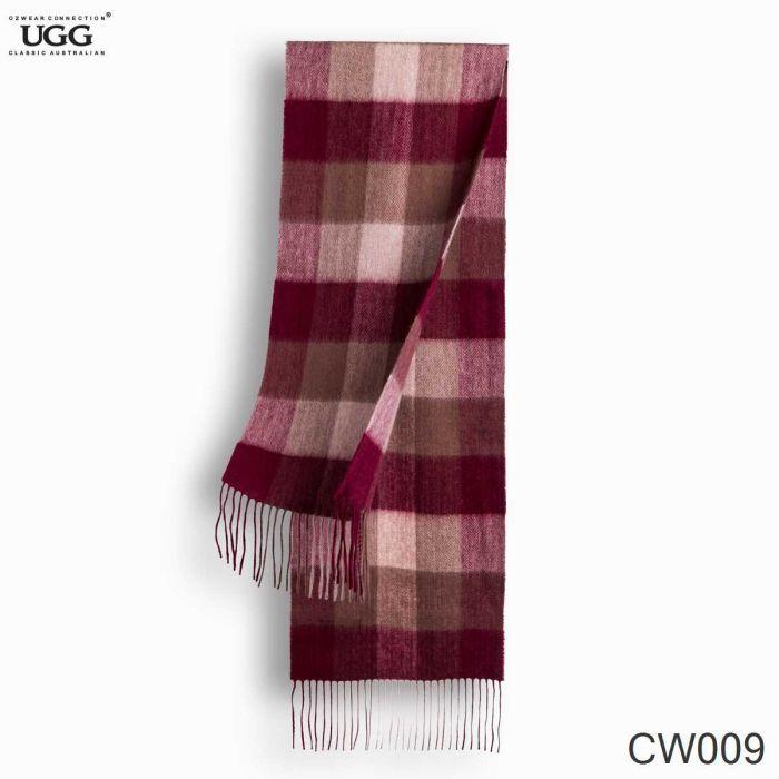 OZWEAR UGG Cashmere + Wool Scarf Wraps- Black Check (1740x300mm) CW009
