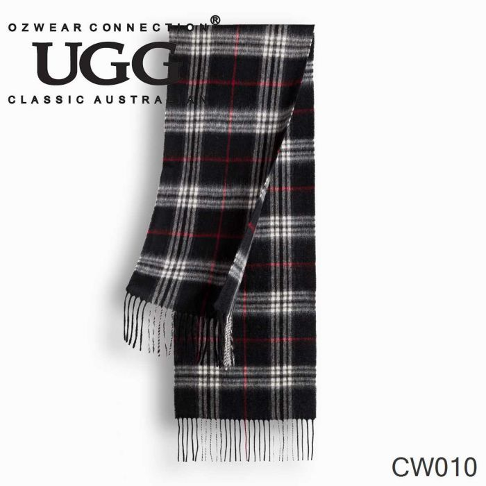 OZWEAR UGG Cashmere + Wool Scarf Wraps- Black Check (1740x300mm) CW010