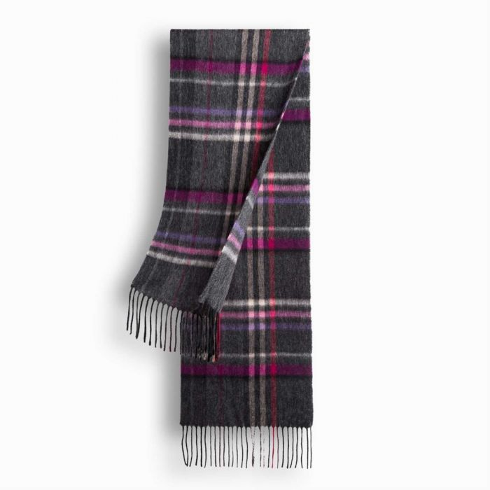 OZWEAR UGG Cashmere + Wool Scarf Wrap - Charcoal/Rose Check (1740x300mm) CW014