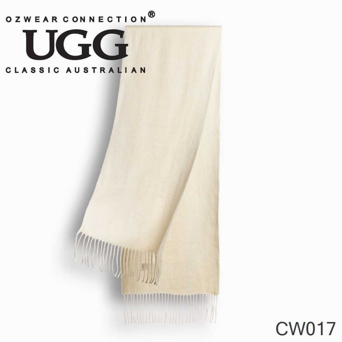 OZWEAR UGG Cashmere + Wool Scarf Wraps- Off White(1740x300mm) CW017