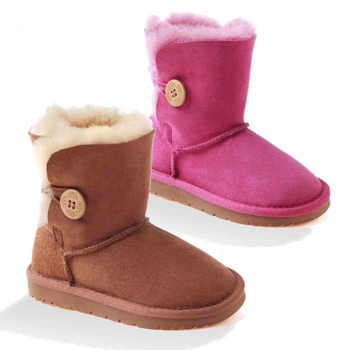 UGG OZWEAR Kids Ugg Button Boots Water Resistant Premium Double Face Sheepskin Ob022