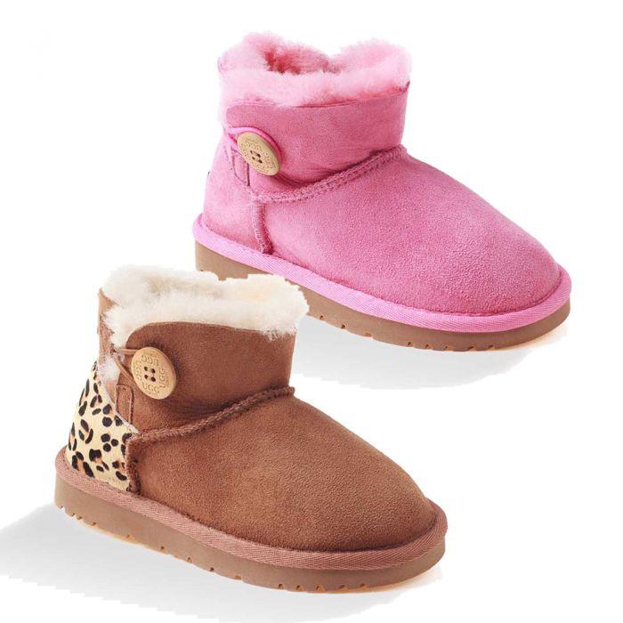 UGG OZWEAR Kids Ugg Mini Button Boots Water Resistant Double Face Sheepskin Ob056ii