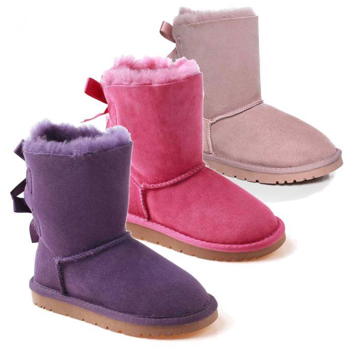 UGG OZWEAR Kids Double Ribbon Boots Water Resistant Double Face Sheepskin Ob085ii