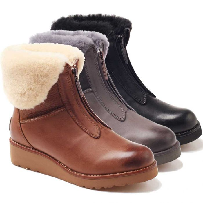 UGG OZWEAR Ladies Abir Collar Zip Boots Cowhide+Sheepskin Water Resistant Ob274