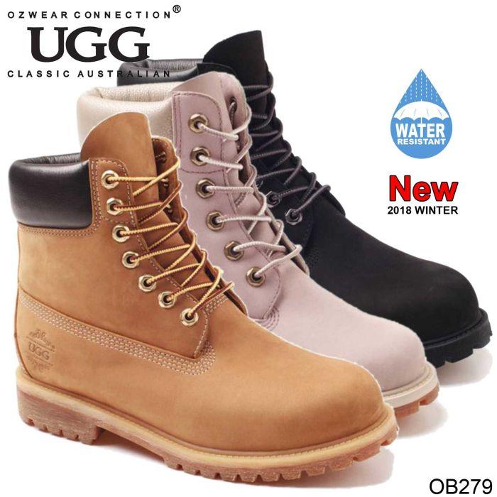 UGG OZWEAR Ladies Glen Inner Wedge Boots Cowhide Premium Sheepskin Water Resistant Ob279