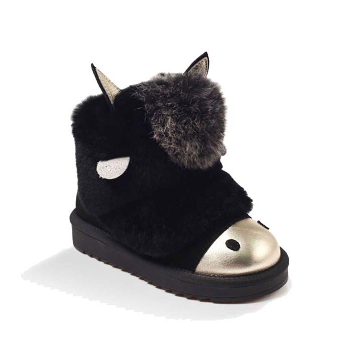 UGG OZWEAR Kids Zip Donkey Boots Cow Suede Rabbit Fur Premium Sheepskin Wool Ob297