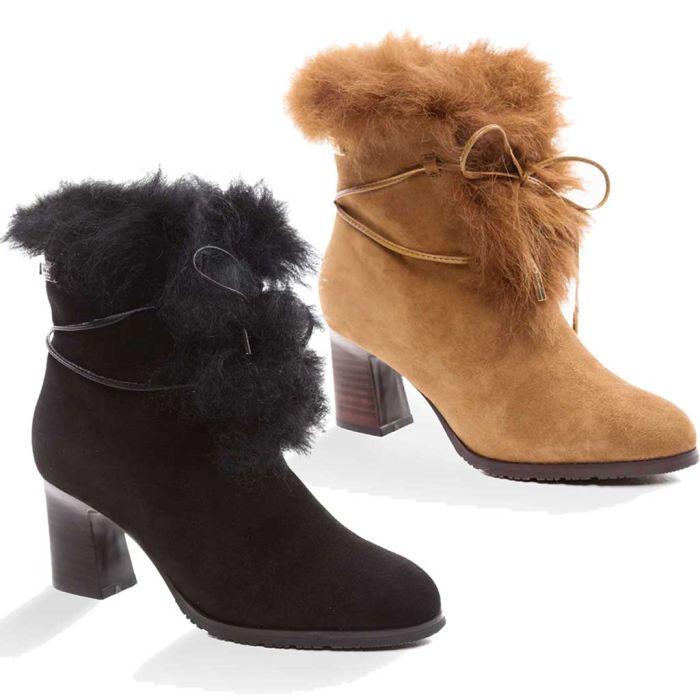 UGG OZWEAR Ladies Leah Fur Lined Heel Boots Premium Sheepskin Fashion Boots Ob352