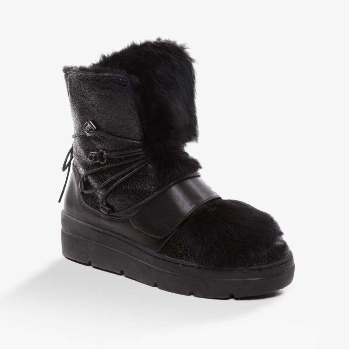 UGG OZWEAR Ladies Black Hazel Snow Boots With A Detachable Fur Premium Sheepskin Ob354