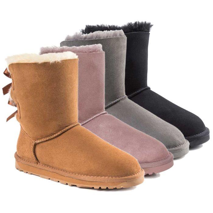 UGG OZWEAR 3rd Gen Ladies Bailey Bow Short Boots Premium Sheepskin Water Resist