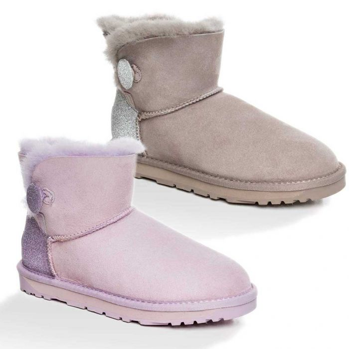 UGG OZWEAR Ladies Classic Sparkling Mini Button Boots #Ob394