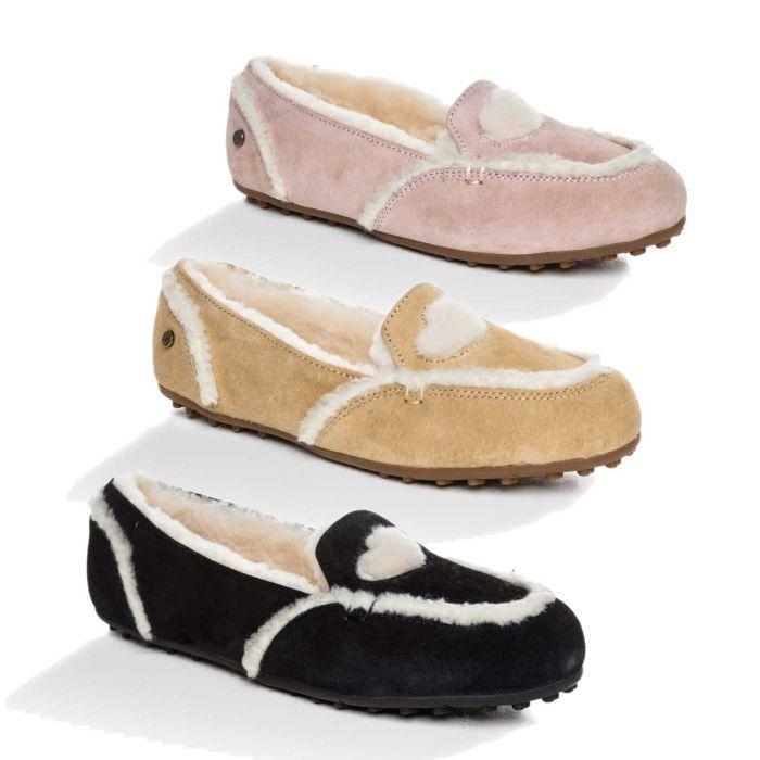 UGG OZWEAR Ladies Eva Love Heart Loafer Australian Premium Sheepskin Ob399