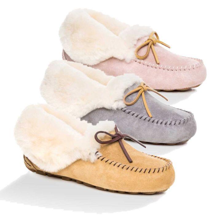 UGG OZWEAR Ladies Jacee Collar Moccasin Inner Wedge Premium Sheepskin Ob400