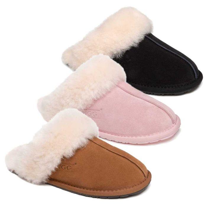 UGG OZWEAR Ladies Classic Ugg Genesis Sheepskin Slipper Scuffs With Fluffy Cuff#Ob411