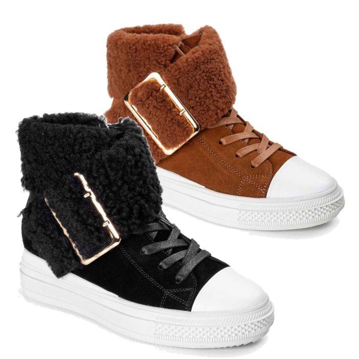 UGG OZWEAR Women's Ugg Agnes Lace Buckle Sneaker Cowskin + Sheepskin Wool Ob481