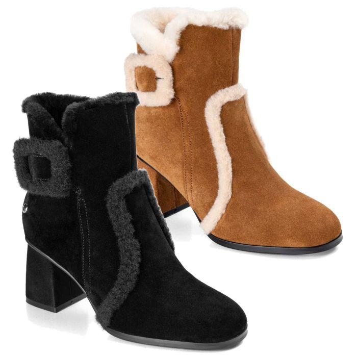UGG OZWEAR Women's Ugg Serena Mid Heal Fashion Boots Cowhide Suede Sheepskin Wool Ob483