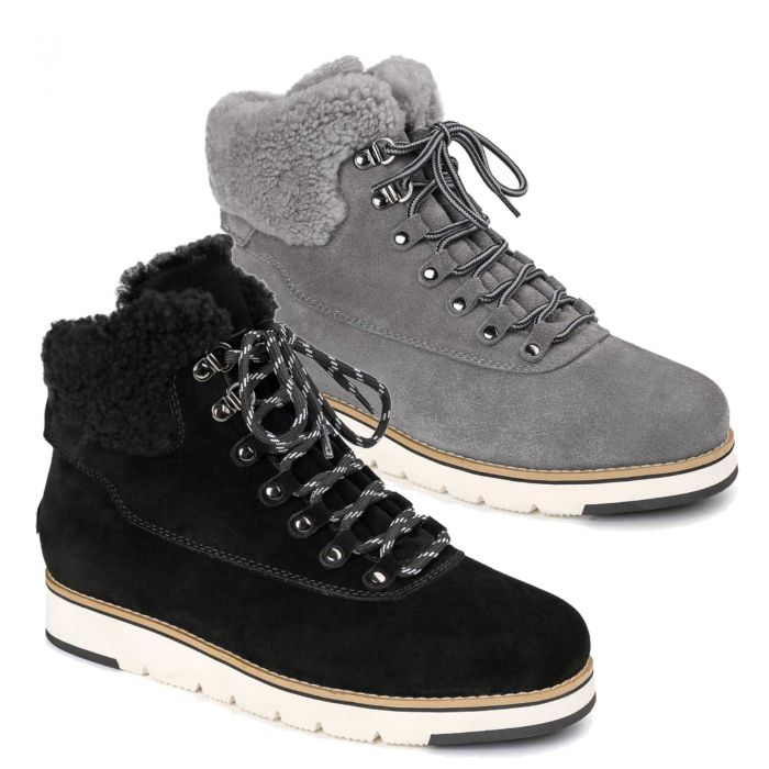 UGG OZWEAR Mens Ugg Alexander Lace Up Boots Cow Suede + Premium Sheepskin Wool Ob498